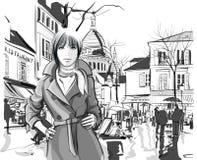 Kvinna i den Montmartre fyrkanten Fotografering för Bildbyråer