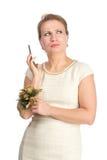 Kvinna i den vita klänningen med mobilen Royaltyfri Fotografi