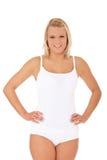 Kvinna i den vita underkläderna Arkivbild