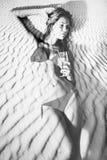 Kvinna i dubbel exponering för bikini royaltyfria foton