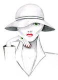 Kvinna i en hatt Fotografering för Bildbyråer