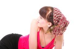 Kvinna i en isolerad turban arkivfoton