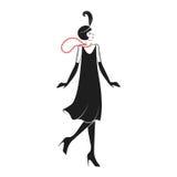 Kvinna i en klänning av 20 `en s royaltyfri illustrationer