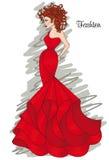 Kvinna i en lång röd klänning Mode och frisyr Arkivfoto