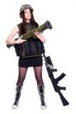 Kvinna i en militär kamouflage med en granatlauncher och som Fotografering för Bildbyråer