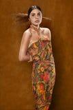 Kvinna i etnisk klänning arkivfoton