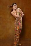 Kvinna i etnisk klänning royaltyfria bilder