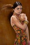 Kvinna i etnisk klänning royaltyfria foton