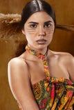 Kvinna i etnisk klänning royaltyfri bild