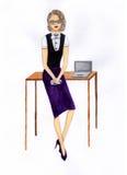 Kvinna i ett kontor illustration Arkivfoto