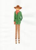 Kvinna i ett lag, illustration Arkivbild
