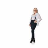 Kvinna i exponeringsglas på vit bakgrund Fotografering för Bildbyråer