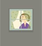 Kvinna i fönstret Arkivbilder