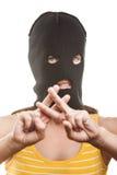 Kvinna i gest för balaclavauppvisningsfängelse Royaltyfria Bilder
