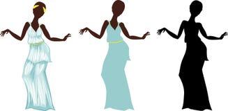 Kvinna i grekisk klänning Arkivbilder