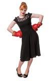 Kvinna i handske för boxning för aftonklänning bärande Royaltyfri Foto