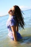 Kvinna i havet Royaltyfria Bilder