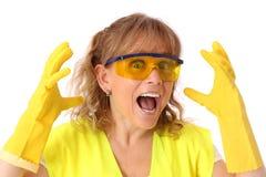 Kvinna i hennes bära för 40-tal handskar och säkerhetsexponeringsglas Arkivbild