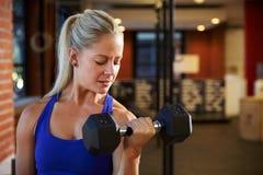 Kvinna i idrottshalllyftande handvikter Royaltyfri Foto
