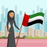 Kvinna i illustration för vektor för Hijab besökstad plan vektor illustrationer