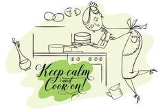 Kvinna i kök matlagning vektor illustrationer