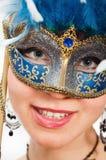Kvinna i karnevalmaskering Fotografering för Bildbyråer
