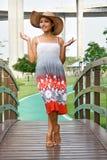 Kvinna i klänning fotografering för bildbyråer