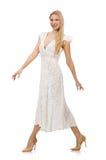 Kvinna i klänning i modeklänning Arkivfoton