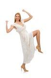 Kvinna i klänning i modeklänning Royaltyfria Bilder
