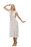 Kvinna i klänning i modeklänning Royaltyfri Foto
