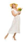 Kvinna i klänning i modeklänning Arkivfoto