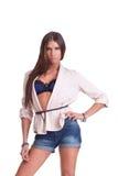 Kvinna i kortslutningar Arkivfoto