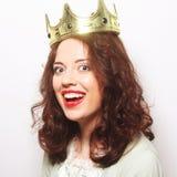 Kvinna i krona royaltyfri fotografi