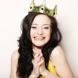 Kvinna i krona Royaltyfri Bild