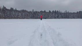 Kvinna i längdlöpning Fotvandra på en snöig dag lager videofilmer