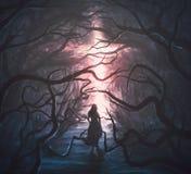 Kvinna i läskig skog royaltyfri illustrationer
