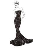 Kvinna i lång aftonklänning stock illustrationer