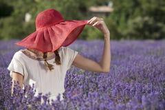 Kvinna i lavendelfält Arkivfoto