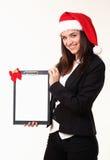 Kvinna i locket Santas Royaltyfria Bilder