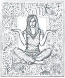 Kvinna i Lotus Pose Against Love Story bakgrund 04 Arkivbild