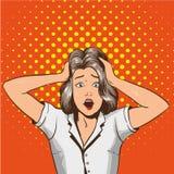 Kvinna i nöd Vektorillustration i retro stil för popkonst Den stressade flickan i chock griper hennes huvud i händer Royaltyfri Fotografi