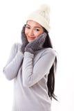 Kvinna i nedgång- eller vinterstil Arkivbilder