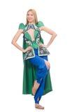 Kvinna i orientaliska gröna kläder som isoleras på vit Royaltyfri Bild