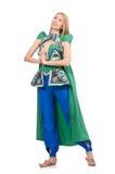 Kvinna i orientaliska gröna kläder som isoleras på vit Arkivbilder