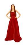 Kvinna i röd klänningillustration Arkivfoto