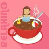 Kvinna i röd kopp av varmt kaffe Fotografering för Bildbyråer