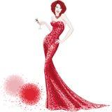 Kvinna i röd skinande klänning Arkivfoton
