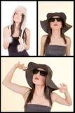 Kvinna i retro ståendeuppsättning för hatt. arkivfoton