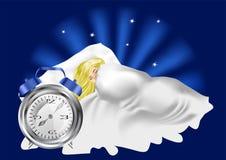 Kvinna i säng och ringklocka Arkivfoto