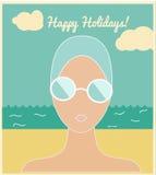 Kvinna i simninglocket, feriekort vektor illustrationer